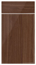High Gloss Walnut kitchen door and drawer fronts